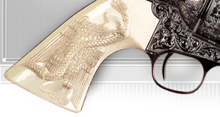 trade label and revolver graphic